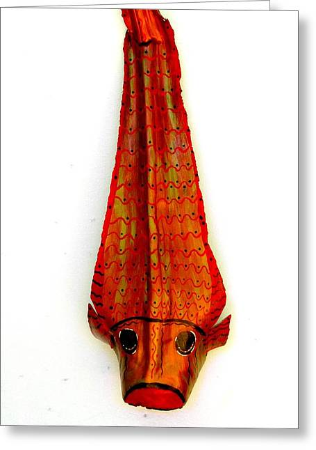 Beach Decor Sculptures Greeting Cards - Koi Fish On Frond Original Art Greeting Card by Janet Craig