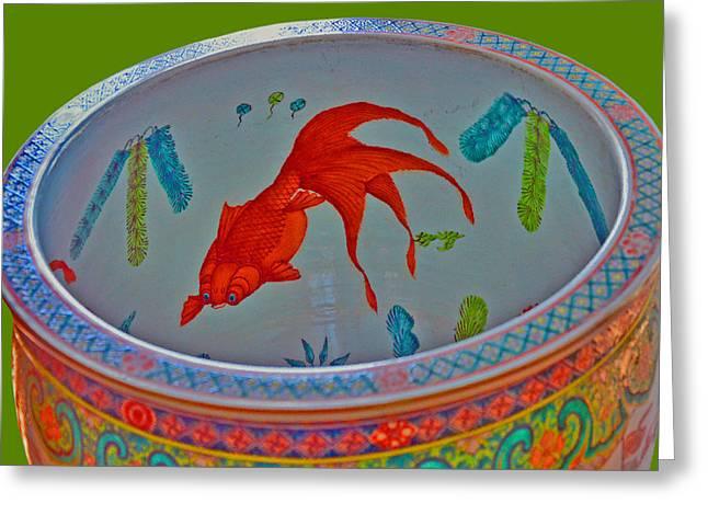 Decorative Fish Greeting Cards - Koi. Huge Ancient Decorative vase. Greeting Card by Andy Za