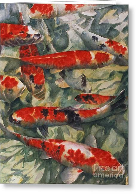 Japanese Fish Greeting Cards - Koi Karp Greeting Card by Gareth Lloyd Ball