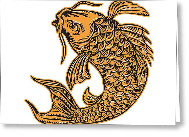 Koi Artwork Greeting Cards - Koi Nishikigoi Carp Fish Jumping Etching Greeting Card by Aloysius Patrimonio