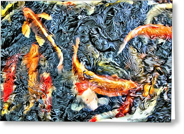 Stream Digital Art Greeting Cards - Koi Pond Greeting Card by Anthony C Chen