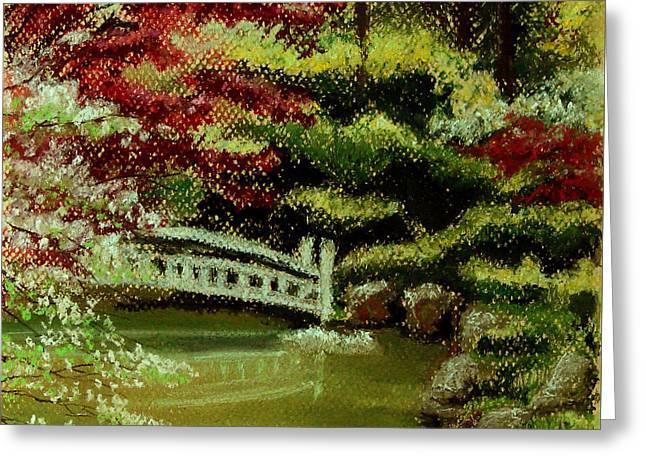Water Garden Pastels Greeting Cards - Koi Pond Greeting Card by Carol Kovalchuk