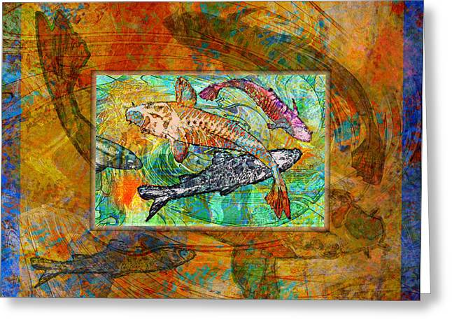Mary Ogle Greeting Cards - Koi Pond Greeting Card by Mary Ogle
