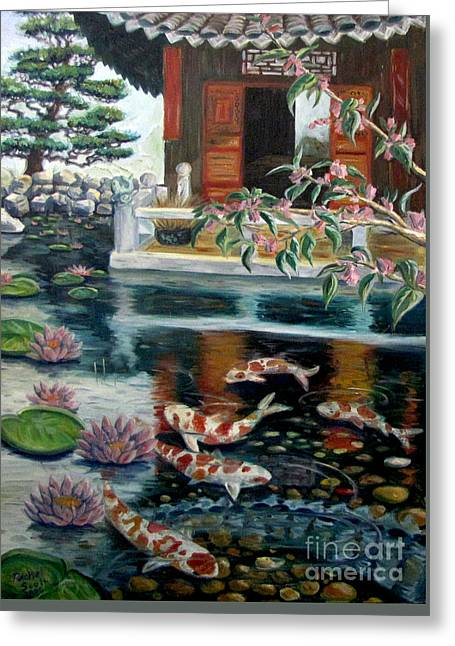 Oil Tapestries - Textiles Greeting Cards - Koi Pond Greeting Card by Rachel Scott