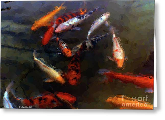 Koi Pond Watercolor Greeting Card by Fred Jinkins