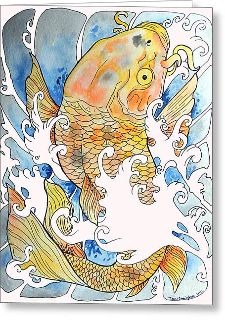 Jenn Cunningham Greeting Cards - KOi Tat Greeting Card by Jenn Cunningham