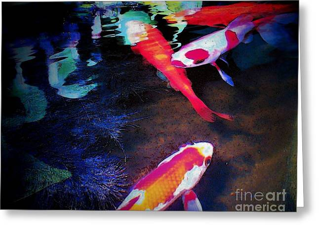 Koi Under Glass Greeting Card by Sally Siko