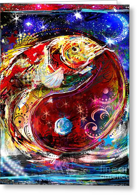 Yang Greeting Cards - Koi Ying Yang Greeting Card by Ryan RockChromatic