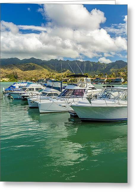 Sailboat Images Greeting Cards - Koko Marina and the Koolau Mountains 2 Greeting Card by Leigh Anne Meeks