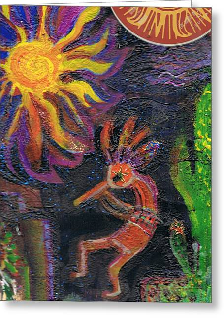 Anne-elizabeth Whiteway Greeting Cards - Kokopelli Caliente Greeting Card by Anne-Elizabeth Whiteway