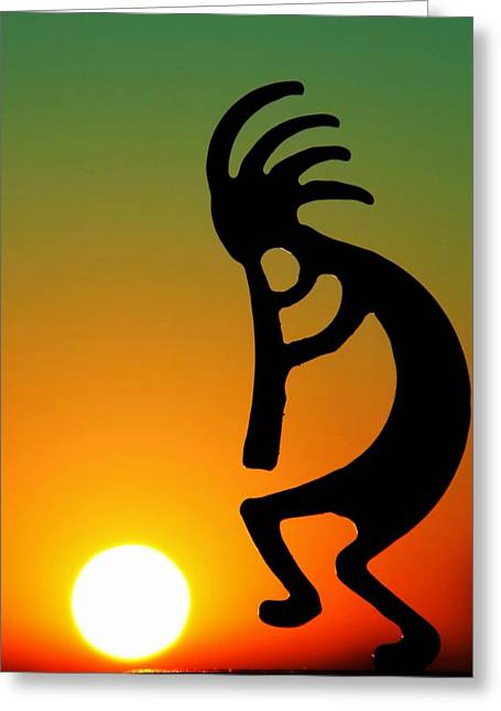 Southwest Greeting Cards - Kokopelli Greeting Card by Mitch Cat