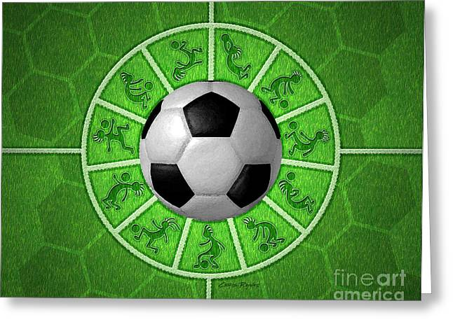 Goalpost Greeting Cards - Kokopelli Soccer Greeting Card by Chris Rhynas