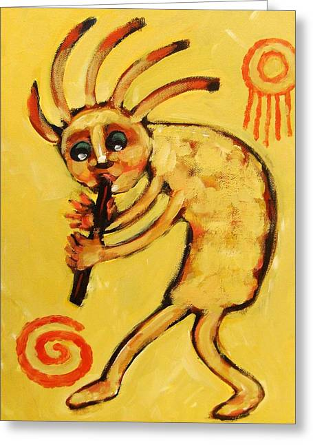 Santa Fe Greeting Cards - Kokopelli Watches Greeting Card by Carol Suzanne Niebuhr