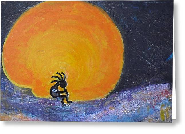 Anne-elizabeth Whiteway Greeting Cards - Kokopelli With Marmalade Moon Greeting Card by Anne-Elizabeth Whiteway