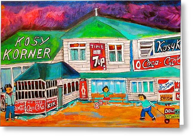Kosy Korner Community Plage Laval Greeting Card by Michael Litvack