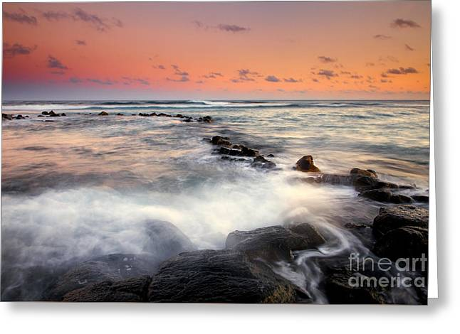 Sunset Seascape Greeting Cards - Koloa Dusk Greeting Card by Mike  Dawson