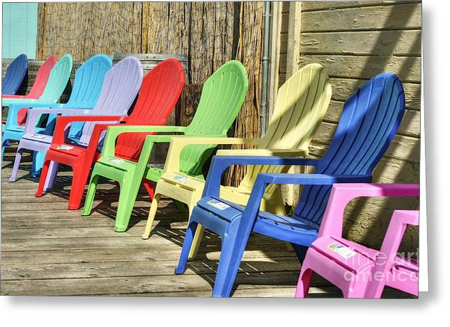 Lawn Chair Greeting Cards - Kolors Of Ketchikan Greeting Card by Mel Steinhauer