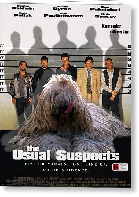 Suspect Greeting Cards - Komondor Art Canvas Print - The Usual Suspects Movie Poster Greeting Card by Sandra Sij