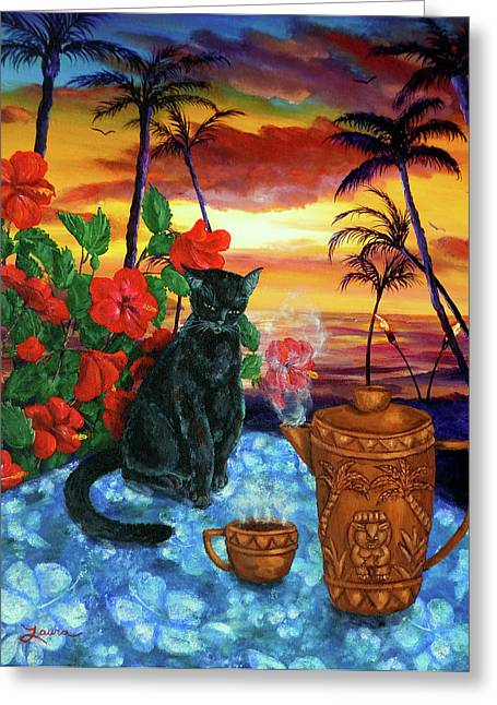 Tiki Art Greeting Cards - Kona Kat Greeting Card by Laura Iverson