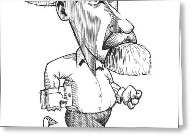 Konrad Lorenz, Caricature Greeting Card by Gary Brown