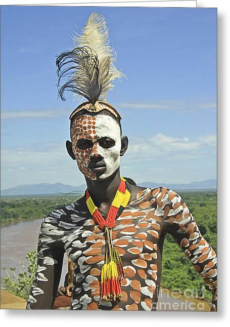 Thatch Greeting Cards - Konso tribe man Greeting Card by Gilad Flesch