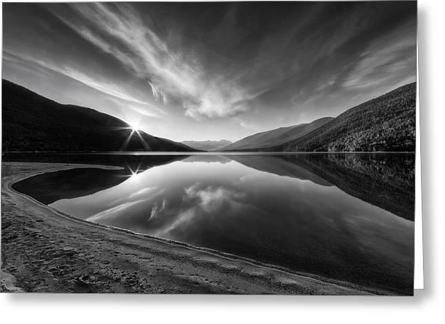 B.c. Greeting Cards - Kootenay Lake Sunrise Black and White Greeting Card by Mark Kiver