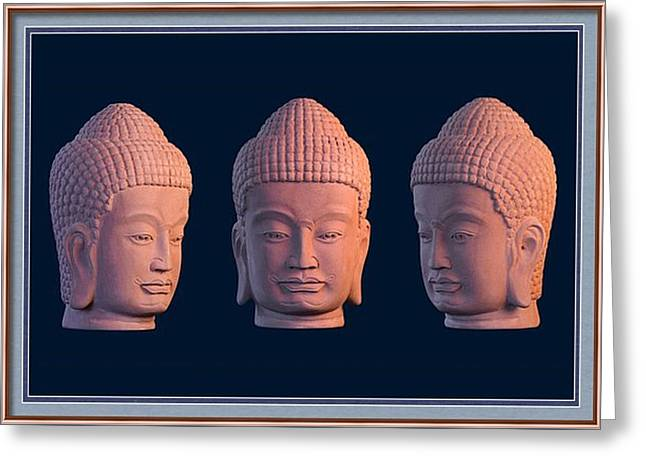 Serene Sculptures Greeting Cards - Khmer Greeting Card 2 Greeting Card by Terrell Kaucher