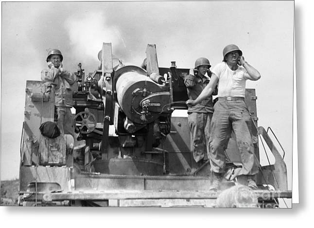 Korean War: Artillerymen Greeting Card by Granger