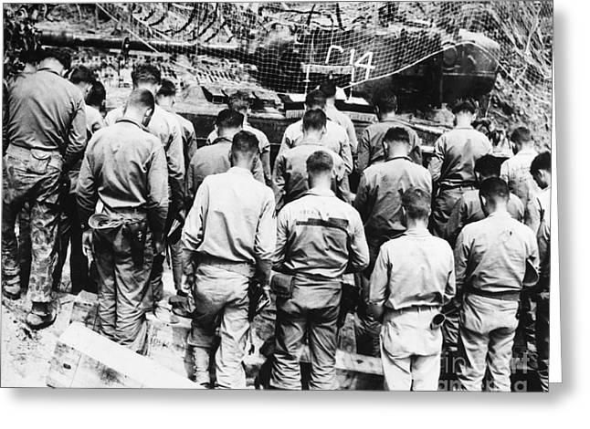 Chaplain Greeting Cards - Korean War: Church Service Greeting Card by Granger