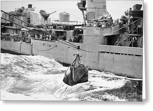 Us Postal Service Greeting Cards - Korean War: Navy Mailbag Greeting Card by Granger
