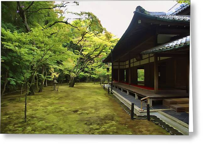 Kyoto Greeting Cards - KOTO-IN ZEN TEMPLE MAPLE and MOSS GARDEN - KYOTO JAPAN Greeting Card by Daniel Hagerman