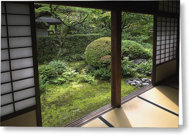 Rice Paper Greeting Cards - Koto-in Zen Temple Side Garden - Kyoto Japan Greeting Card by Daniel Hagerman