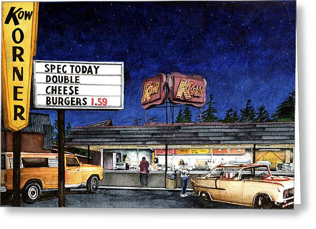 Cheese Burger Greeting Cards - Kow Greeting Card by Perry Woodfin