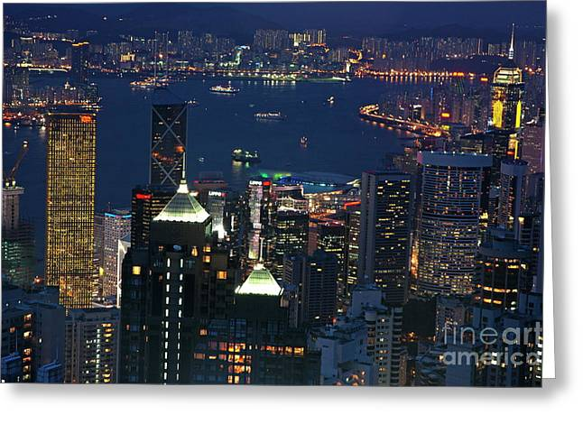 Kowloon Greeting Cards - Kowloon skyline and Victoria Harbour at dusk Greeting Card by Sami Sarkis