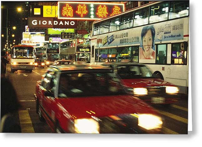 Vehicle Of Life Greeting Cards - Kowloon Street Scene At Night With Neon Greeting Card by Justin Guariglia