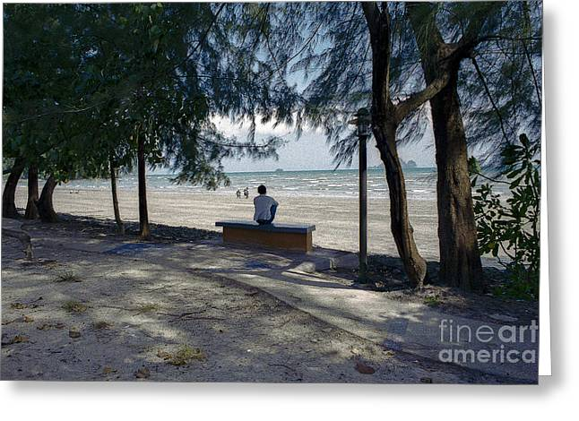 View Pyrography Greeting Cards - Krabi a Man Relaxing under the trees-ao nang Beach  Greeting Card by Nicholas  Allaniaris
