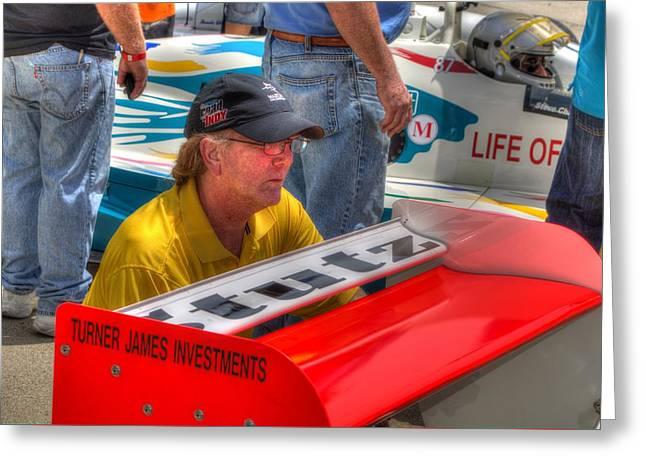Indy Car Greeting Cards - Kraig Johnson Driver Mechanic Raconteur Greeting Card by Jonathan Williams