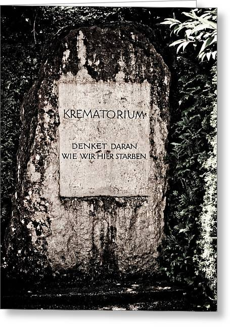 Concentration Greeting Cards - Krematorium Greeting Card by Dean Farrell
