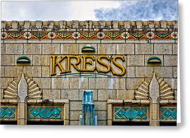 Hilo Greeting Cards - Kress Building Detail Greeting Card by Christopher Holmes