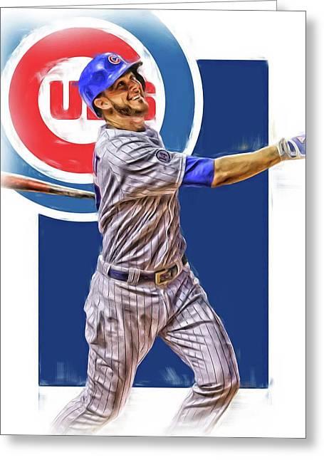 Kris Bryant Chicago Cubs Oil Art Greeting Card by Joe Hamilton