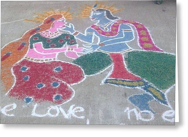 Hindu Goddess Ceramics Greeting Cards - Krishna - Radha Love Greeting Card by Joni Mazumder