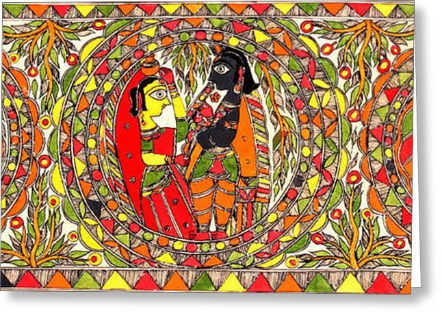 Cloth Greeting Cards - Krishna and Gopi Mandala Greeting Card by Lanjee Chee