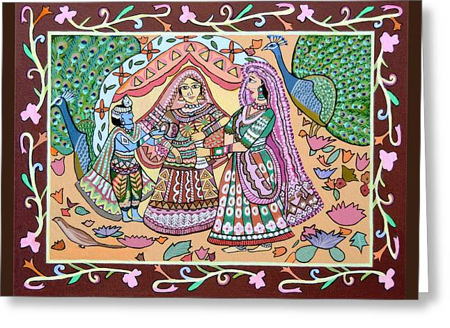 Religious Canvas Prints Drawings Greeting Cards - Krishna and Yashoda Greeting Card by Thecla Correya