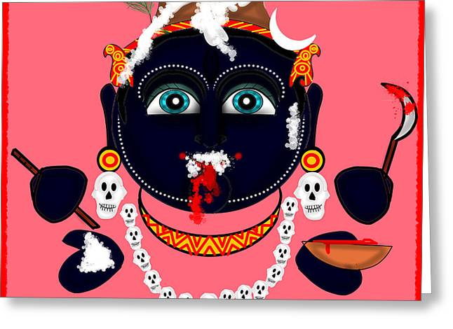 Hindu Goddess Digital Greeting Cards - Krishna KaLi Greeting Card by Pratyasha Nithin