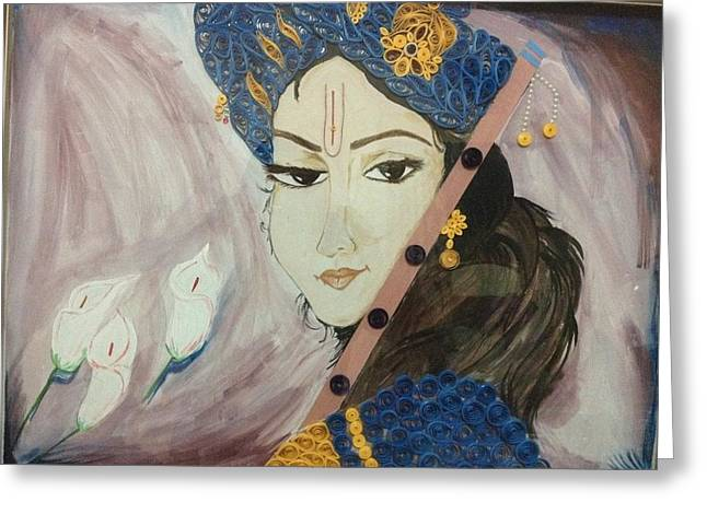 Quilling Greeting Cards - Krishna Quilling Greeting Card by Khushboo Srivastava