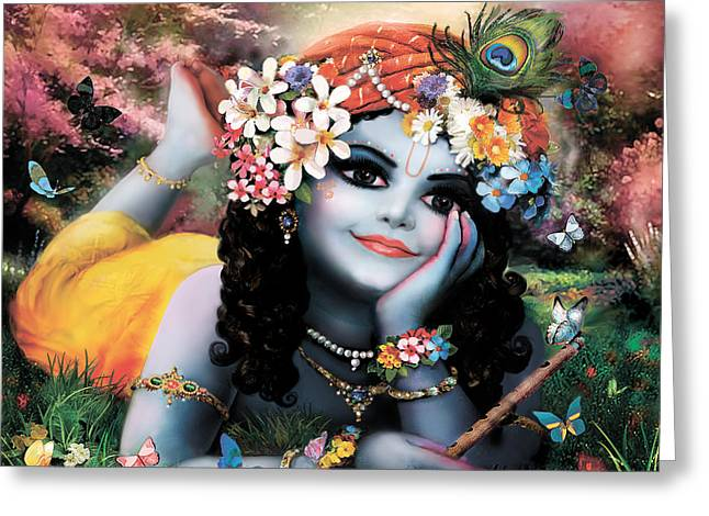 Krishna-sky Boy Greeting Card by Lila Shravani
