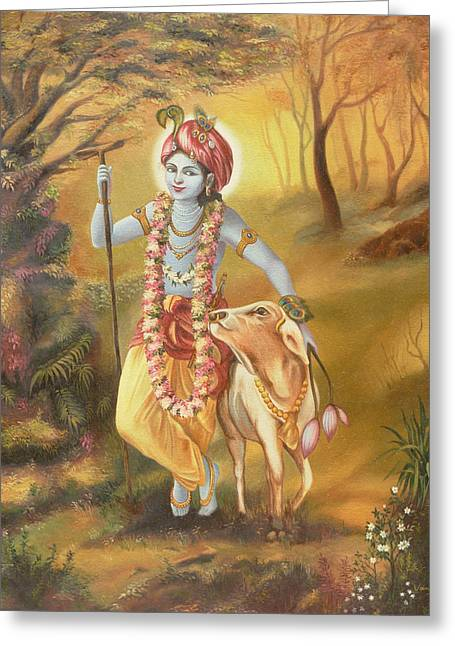 Govinda Greeting Cards - Krishna Greeting Card by Vani Chawla