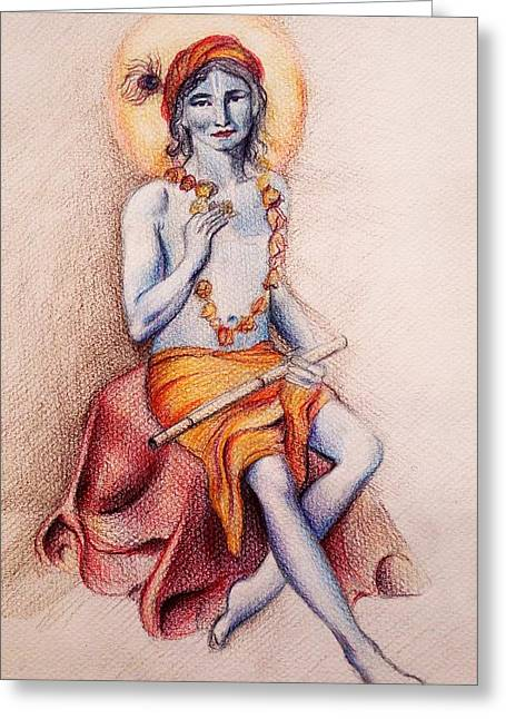 Gopala Greeting Cards - Krishna with a flower Greeting Card by Vera Atlantia