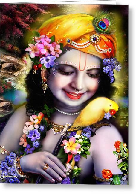 Varshana Greeting Cards - Krishna with parrot Greeting Card by Lila Shravani