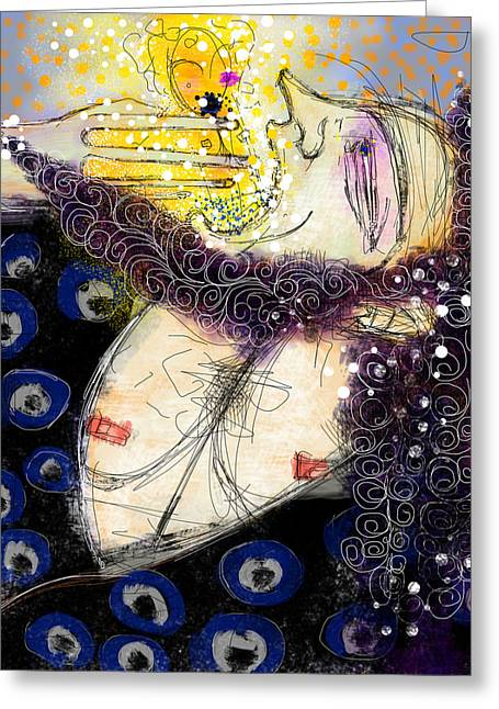 Roman Mixed Media Greeting Cards - Kronos Swallowing His Children Greeting Card by Mark M  Mellon